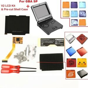 V2 IPS GBA SP Backlight Backlit LCD For Game Boy Advance SP + Pre-cut Shell Case
