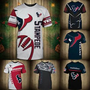 Houston Texans Summer Men's T-shirt Casual Short Sleeve Tee Top Shirts S-5XL