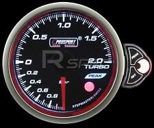 Prosport 60mm Affumicato Motore Passo-Passo MANOMETRO TURBO BOOST BAR BIANCO BLU AMBRA