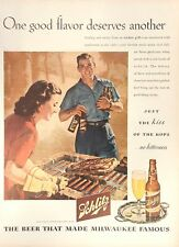 1945 Double side ad- Schlitz Beer BBQ Grill and Max Factor Make-Up Lana Turner