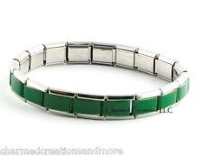 Green Center 9mm Italian Charm Shiny Stainless Steel 18 Link Starter Bracelet