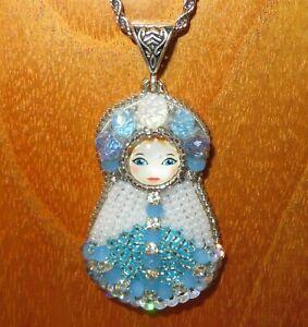 Pendant HAND BEADED Matryoshka Russian Doll Blue & White Babushka silver chain