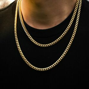 Miami Cuban Link Chain 18k Yellow Gold Heavy Necklace Solid 6mm