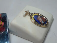 Maria Mother Of God Portrait Framed in 14Kt Yellow Gold Pendant #10201A