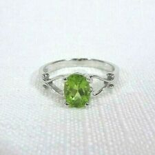 0.96 ct Natural Peridot Victorian Swirl Solitaire Solid Sterling Silver Ring