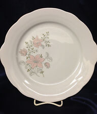 """KAHLA CAKE SERVING PLATE 11 1/8"""" PINK LILLIES & WHITE FLOWERS GOLD TRIM"""