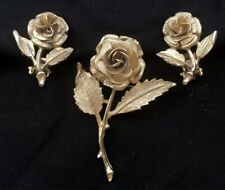 Clip On Earrings Set Gold Tone Vintage Rose Brooch Pin with Matching