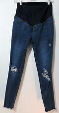 Isakel Woman's Blue Jean Maternity Distressed Leggings 2 Back Pockets Size 2