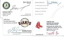 OAKLAND A'S PRESIDENT DAVE KAVAL SIGNED BUSINESS CARD