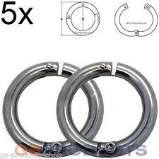 5x 8mm Stainless Steel Lockable Split Ring FREE Postage & Packaging!