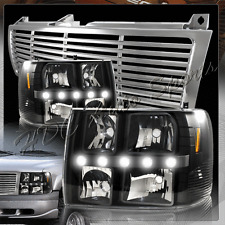 For 1999-2002 Chevrolet Silverado LED DRL Conversion Black Headlights + Grille
