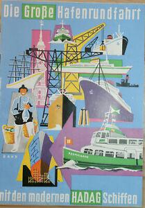 HAMBURG – Die Große Hafenrundfahrt mit den modernen HADAG Schiffen (ca. 1957)