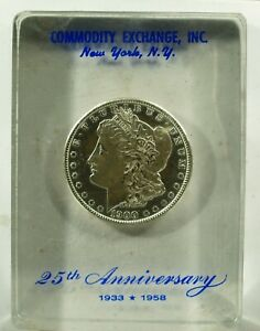 1900 Morgan Dollar Lucite paperweight Commodity Exchange NY 25th Ann (1958)