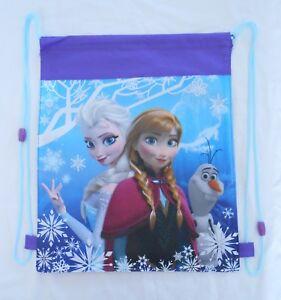 Backpack Drawstring DISNEY FROZEN Purple Princesses Anna Elsa Gym Book Tote Bag