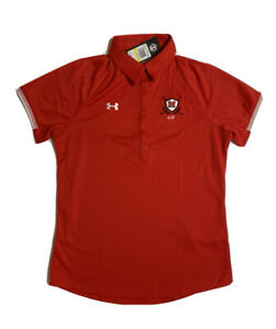 NWT Under Armour Women Size M Red Golf Polo Short Sleeve