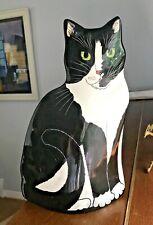 """Cats By Nina Lyman 11.5"""" Tall Ceramic Black And White Tuxedo Cat Vase Green Eyes"""