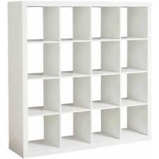 Storage Cube Organizer 16 Cubbies Shelves Solid White Bookcase Closet Furniture