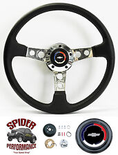 """1966 Chevelle EL Camino Malibu steering wheel CLASSIC BOWTIE LEATHER 14"""" Grant"""