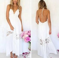 New Women's white lace Summer Sundress Maxi Boho long beach cocktail Party dress