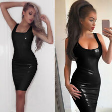 New Black Latex Rubber Girl Dress Skirt Slim Club Wear Vestidos Unique Party r32