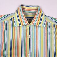 Domenico Vacca Men's Rainbow Striped L/S Button Shirt Italy • Size 15.5 | 39