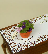 Vintage Mothers Day Purple Flocked Flowers Pot Artisan Dollhouse Miniature 1:12