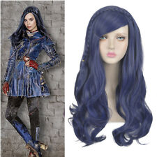 Descendants 2 Evie cosplay wig long dark blue wavy curly braids hair full wigs