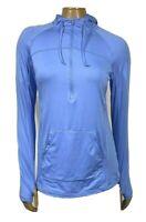 hind Women's Athletic Top size M Blue Long Sleeve Hoodie thumb slots Half Zip
