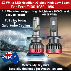 2x 18000lm Headlight Globes For Ford F100 1984 1985 High Low Beam Bulb White 12V