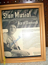 RARE  ST LOUIS CARDS STAN MUSIAL AUTOGRAPHED ACE OF DIAMONDS PICTURE