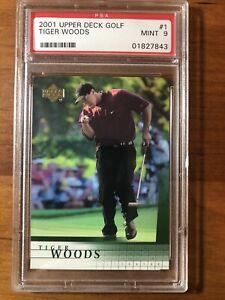 2001 UPPER DECK GOLF TIGER WOODS ROOKIE CARD #1 PSA 9 MINT