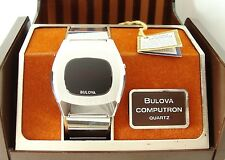Vintage Bulova Computron LED Digital c1976, Running, Original Box and Band