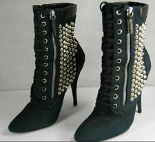 Giuseppe Zanotti for Balmain SILVER STUD HIGH HEEL BLACK ANKLE BOOTS EU 40 US 9