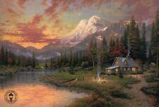 Evening Majesty - Canoe, Mountains, River, Fire - Thomas Kinkade Dealer Postcard