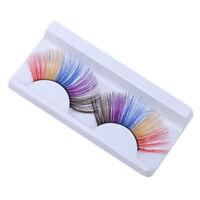 Long False Eyelashes Party Lashes Fake Extensions Glitter Metallic Colored LD