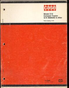 1975 J I CASE PARTS CATALOG  MODEL 210 COMPACT TRACTORS