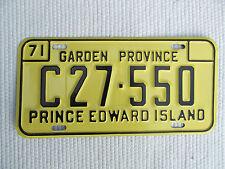 1971 Prince Edward Island Garden Province License Plate tag #C27-550 Canada