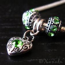 Peridot Green European Heart Charm + Spacer Beads For Large Hole Charm Bracelets