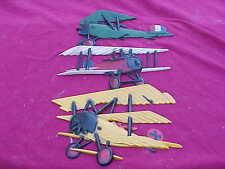 Vintage Homco Usa 1973 Die Cast Metal Ww1 Bi Plane Airplane Wall Hangings Set