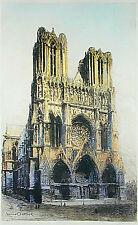 """French Color Etching LUCIEN GAUTIER 'Notre Dame de Rheims', 25"""" x 15"""""""