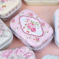 Mini flower tin trinket jewelry coin box tinplate storage case small rectangu TP