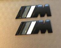 2 X ///M Sport M Power Black Matte Wings Metal Badge BMW 1,2,3,4 5 X5 UK Stock