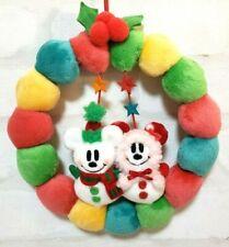 Tokyo Disney Resort Merry Christmas WREATH Plush Toy Mickey Minnie Snowman Rare!