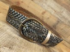 Brave Beltworks Leather Belt Wide Hip Waist Copper Tone Buckle Gold 34