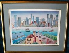 "Gisela Fabian Serigraph ""New York Harbor View"" Signed Artist Proof   Xtra-Fine"