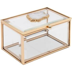 Rectangle All-Natural Agate Stone Jewellery Accessory Storage Display Box