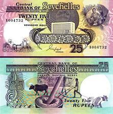 SEYCHELLES 25 RUPEES 1989 UNCIRCULATED P-33 PREFIX A 00****