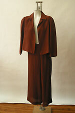 Dusan Silk Wide Leg Pleated Pant Suit Crop Jacket Long Sleeve 10