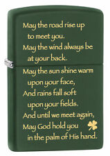 Zippo Windproof Irish Blessing Prayer Lighter Green Matte 28479 New In Box Gift