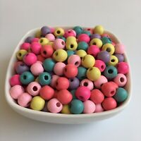 75X Wooden Beads Mixed Pastel Multi Colour 10mm DIY Craft Wood Bead